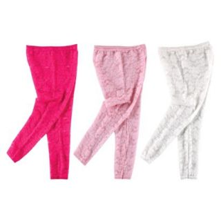 Luvable Friends Infant Girls 3 Pack Footless Lace Tights   Pink/White 0 9 M