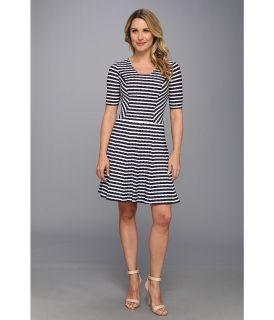 Anne Klein Wave Stripe Knit Fit Flare Dress Womens Dress (Gray)
