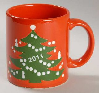 Waechtersbach Christmas Tree Red Mug, Fine China Dinnerware   Red W/Xmas Tree,An