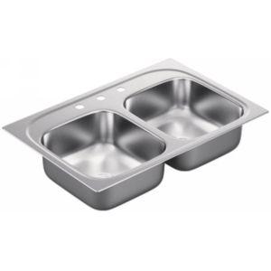 Moen G202153 2000 Series Stainless steel 20 gauge double bowl sink