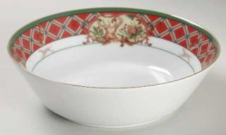 Noritake Royal Hunt Coupe Soup Bowl, Fine China Dinnerware   Green Band, Fruit&A