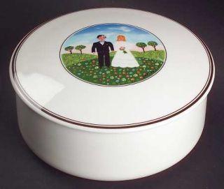 Villeroy & Boch Naif Wedding Large Candy Box & Lid, Fine China Dinnerware   Brid