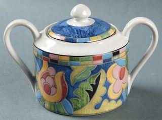 Interiors (PTS) Fantasia Sugar Bowl & Lid, Fine China Dinnerware   Stoneware,Mul