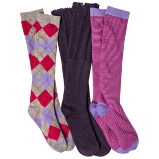 Xhilaration Juniors 3 Pack Knee High Socks   One Size Fits Most Pink/Grey