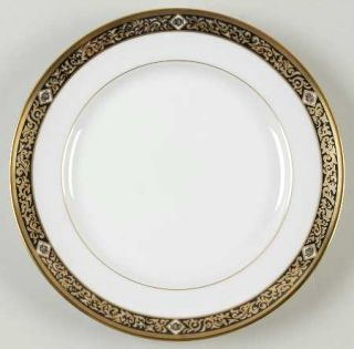Christian Dior Nuit D Or Salad Plate, Fine China Dinnerware   Black & Gold Desi