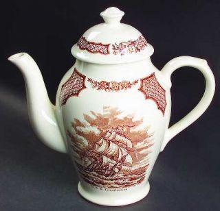 Alfred Meakin Fair Winds Brown Coffee Pot & Lid, Fine China Dinnerware   Brown S