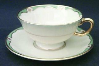 Lenox China Meredith Turquoise Footed Cup & Saucer Set, Fine China Dinnerware