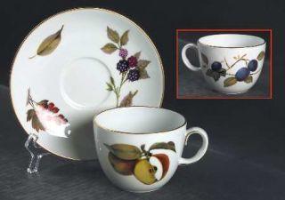 Royal Worcester Evesham Gold (Porcelain) Flat Cup & Saucer Set, Fine China Dinne