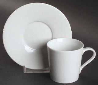 Block China Lisboa White Flat Demitasse Cup & Saucer Set, Fine China Dinnerware