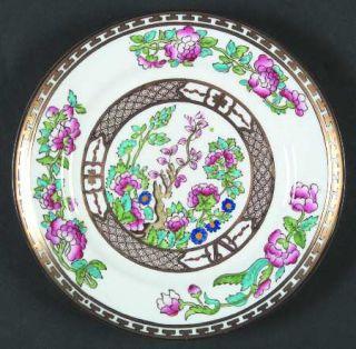 Bridgwood & Son Indian Tree Dessert/Pie Plate, Fine China Dinnerware   Gold Gree