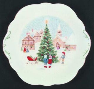 Mikasa Merry Christmas Wellington Cake Plate, Fine China Dinnerware   Bone,Chris