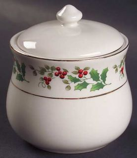 Gibson Designs Christmas Charm Sugar Bowl & Lid, Fine China Dinnerware   Holly &