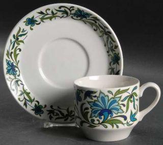 WR Midwinter Spanish Garden (Rim) Flat Cup & Saucer Set, Fine China Dinnerware