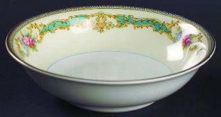 Noritake Althea Coupe Cereal Bowl, Fine China Dinnerware   Blue/Green & Yellow E