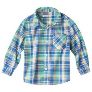 Cherokee Infant Toddler Boys Plaid Button Down Shirt   Blue 24 M