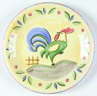 Bella Rooster Dinner Plate, Fine China Dinnerware   Peach&Blue Edge,Green&Blue R