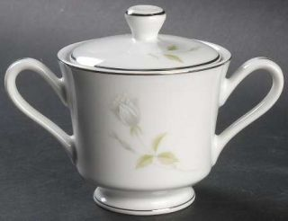 Executive House Cindy Sugar Bowl & Lid, Fine China Dinnerware   White/Gray Roseb
