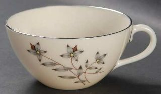 Lenox China Princess Flat Cup, Fine China Dinnerware   Gray & Tan Floral Center