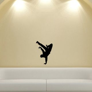 Guy Dancing Break Dance Silhouette Wall Vinyl Decal (Glossy blackDimensions 25 inches wide x 35 inches long )