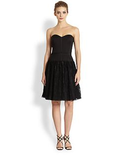 Aidan Mattox Lace Skirt Strapless Faille Dress   Black