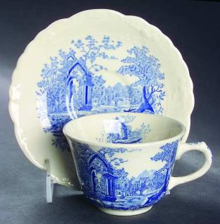 Taylor, Smith & T (TS&T) English Abbey Blue Flat Cup & Saucer Set, Fine China Di