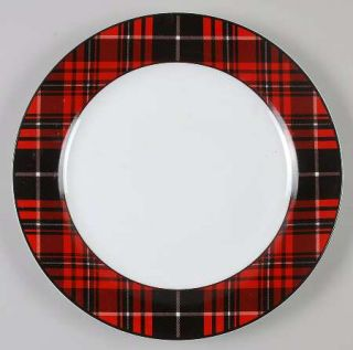 Home Traditional Holiday Dinner Plate, Fine China Dinnerware   Black And Red Pla