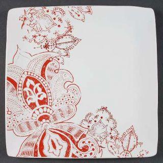 Jaclyn Smith Zanzibar Dinner Plate, Fine China Dinnerware   Red Paisley Floral O
