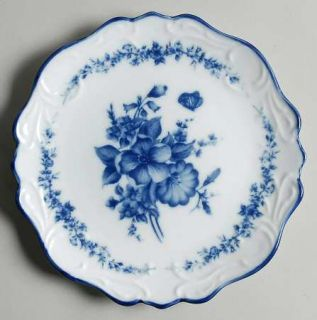 Cracker Barrel Blue And White Coupe Salad Plate, Fine China Dinnerware   Blue Fl