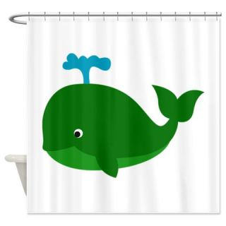 CafePress Green Cartoon Whale Shower Curtain Free Shipping! Use code FREECART at Checkout!