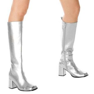 Silver Gogo Boots Adult   7.0