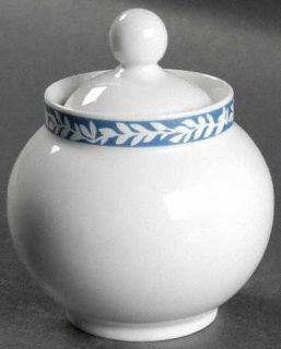 Dansk Trellis Delft Blue Sugar Bowl & Lid, Fine China Dinnerware   White Leaves