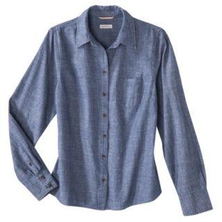 Merona Petites Long Sleeve Chambray Shirt   Blue SP