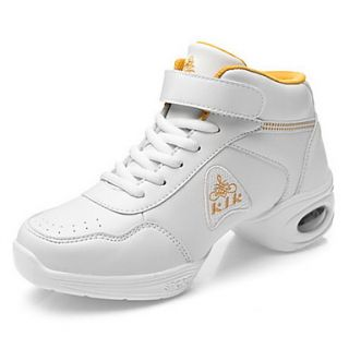 Womens Leather Upper Fitness Sneakers Modern Dance Shoes(More Colors)