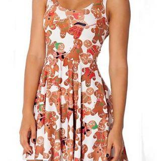 Womens Round Collar Cute Doll Pattern Print Sleevless Dress