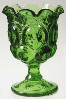 Smith Glass  Moon & Star Green Open Compote   Dark Green