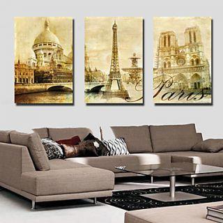Stretched Canvas Art Landscape Architecture Set of 3