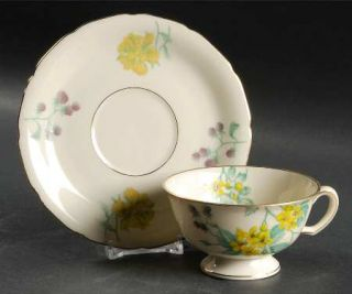 Black Knight Catawba Footed Cup & Saucer Set, Fine China Dinnerware   Gold Trim,