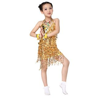 Performance Dancewear Polyester with Sequins Latin Dance Dress For Children