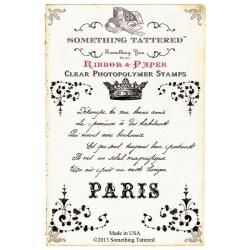 Something Tattered Clear Stamps 4 X4   French Script Poem