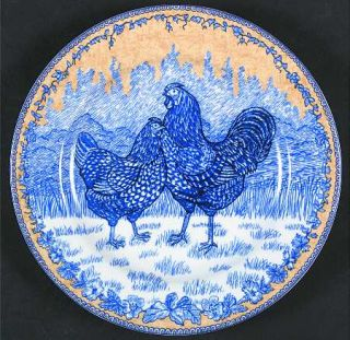 American Atelier Rooster Toile Salad/Dessert Plate, Fine China Dinnerware   Blue