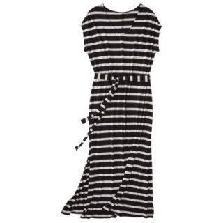 Merona Womens Plus Size Short Sleeve V Neck Maxi Dress   Black/Cream 2