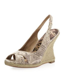 Arianna Snake Print Leather Raffia Wedge Slingback, Black/White