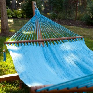 Large Grand Caribbean Nicaraguan Hammock with Spreader Bar Green Blue and