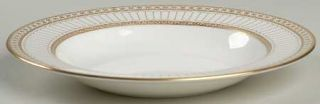 Wedgwood Colonnade Gold Rim Soup Bowl, Fine China Dinnerware   Gold Flowers,Line