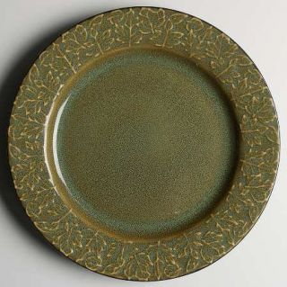 Roscher & Co Olive Green Leaf Collection Dinner Plate, Fine China Dinnerware   S