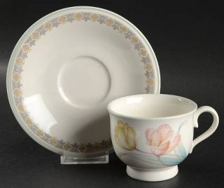 Noritake Tulip Time Footed Cup & Saucer Set, Fine China Dinnerware   Versatone,T
