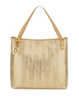 Borsa Metallic Woven PVC Tote Bag, Gold/Beige