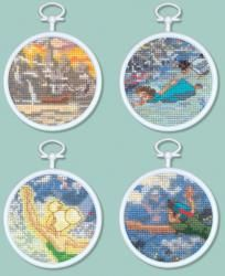 Peter Pan Mini Vignettes Counted Cross Stitch Kit 3 Round 16 Count Set Of 4